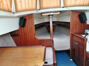 łódka żaglówka Haber do wypożyczenia w Lubiatowie nad jeziorem Sławskim